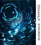 neon blue circles vector... | Shutterstock .eps vector #679495522