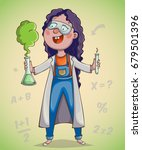 girl scientist excited by... | Shutterstock .eps vector #679501396