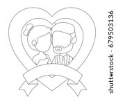 isolated newlywed couple banner   Shutterstock .eps vector #679503136