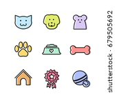 flat vector outline pets icon...