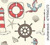 Nautical Seamless Pattern. Hand ...
