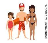 isolated cute beach family   Shutterstock .eps vector #679509076