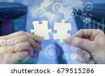 two pieces of jigsaw puzzle and ... | Shutterstock . vector #679515286