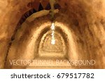 brown tunnel  vector low poly... | Shutterstock .eps vector #679517782
