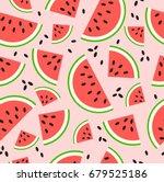 watermelon pattern vector | Shutterstock .eps vector #679525186