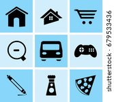 set of 9 mixed icons such as...   Shutterstock .eps vector #679533436