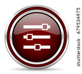 slider red glossy icon. chrome...