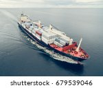 aerial view of container vessel ... | Shutterstock . vector #679539046