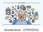 dog in home horizontal banner... | Shutterstock .eps vector #679543312