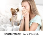 young ill woman with tissue and ... | Shutterstock . vector #679543816