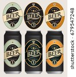 three vector beer labels in... | Shutterstock .eps vector #679547248