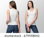 white tank top on a young woman ... | Shutterstock . vector #679558042