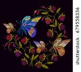 butterflies and berries...   Shutterstock .eps vector #679558336