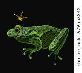 frog embroidery. queen frog... | Shutterstock .eps vector #679558342
