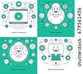 flat line social media and... | Shutterstock .eps vector #679561456
