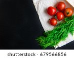 tomatoes  dill on pita bread on ... | Shutterstock . vector #679566856