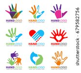 colorful hand and heart logo... | Shutterstock .eps vector #679582756
