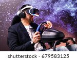 man with vr glasses of virtual... | Shutterstock . vector #679583125