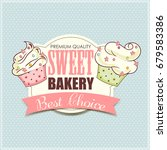 bakery shop banner with cupcakes | Shutterstock . vector #679583386