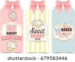 bakery shop labels with cupcakes | Shutterstock . vector #679583446