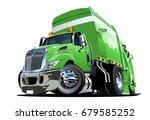 cartoon garbage truck isolated... | Shutterstock .eps vector #679585252