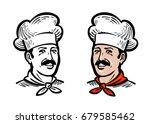 portrait of joyful chef or... | Shutterstock .eps vector #679585462