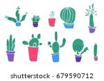 set of different plants  cactus.... | Shutterstock .eps vector #679590712