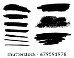 set of black paint  ink brush... | Shutterstock .eps vector #679591978