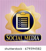 shiny badge with list icon and ... | Shutterstock .eps vector #679594582
