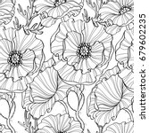 seamless pattern with poppy... | Shutterstock .eps vector #679602235