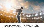 cricket batsman in action on a... | Shutterstock . vector #679602682