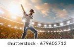 cricket batsman in action on a... | Shutterstock . vector #679602712