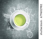 green tea with circle ecology... | Shutterstock . vector #679602982