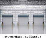 3d rendering warehouse interior ... | Shutterstock . vector #679605535
