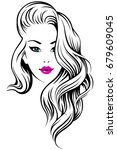 young beautiful girl with curly ... | Shutterstock .eps vector #679609045