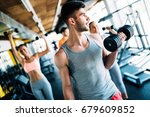 group of friends exercising... | Shutterstock . vector #679609852