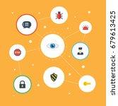 flat icons shield  siren  clue... | Shutterstock .eps vector #679613425