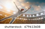 cricket bowler in action on a... | Shutterstock . vector #679613608