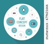 flat icons customer summary ... | Shutterstock .eps vector #679621666