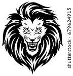 head of roaring lion. black... | Shutterstock .eps vector #679624915