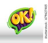 ok  cartoon vector icon. comic... | Shutterstock .eps vector #679627405