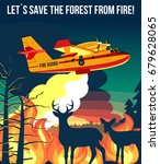 forest wildfire with  fire... | Shutterstock .eps vector #679628065
