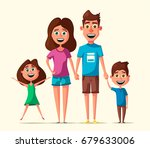 happy family. cartoon vector...   Shutterstock .eps vector #679633006