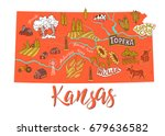 illustrated map of kansas  usa. ... | Shutterstock .eps vector #679636582