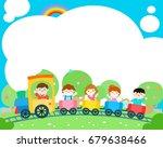 happy children on the train ... | Shutterstock .eps vector #679638466