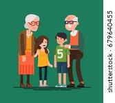 grandparents with grandchildren ... | Shutterstock .eps vector #679640455