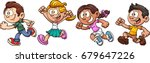 cartoon kids running. vector... | Shutterstock .eps vector #679647226