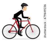 cyclist on a red bicycle. | Shutterstock .eps vector #679649236
