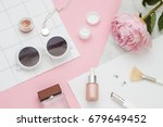 Beauty Flat Lay With Cosmetic...