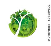 Eco and nature concept.Big tree,seedling and green city with environment conservation.Vector illustration | Shutterstock vector #679659802